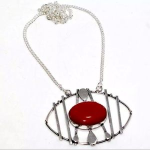 Red Coral and Sterling Silver Necklace, 16""